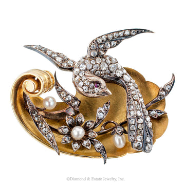 Victorian Bird Brooch Rose-cut Diamonds Pearls Ruby Gold Silver