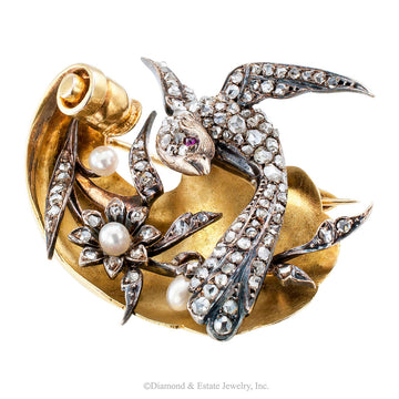Victorian Bird Brooch Rose-cut Diamonds Pearls Ruby Gold Silver - Jacob's Diamond and Estate Jewelry