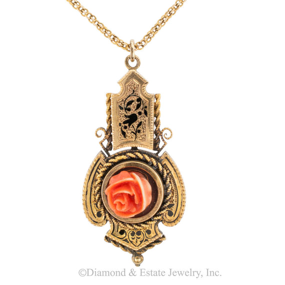 Victorian Carved Coral Black Enamel Gold Pendant - Jacob's Diamond and Estate Jewelry