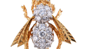 Diamond Yellow Gold Bee Brooch