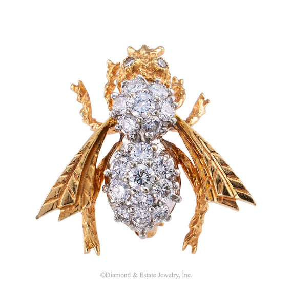Estate diamond and yellow gold bee brooch circa 1980.