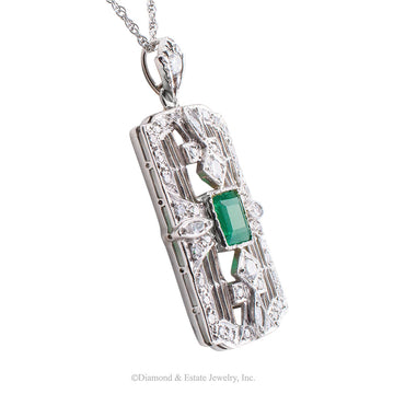 Art Deco Emerald Diamond Platinum White Gold Pendant Necklace