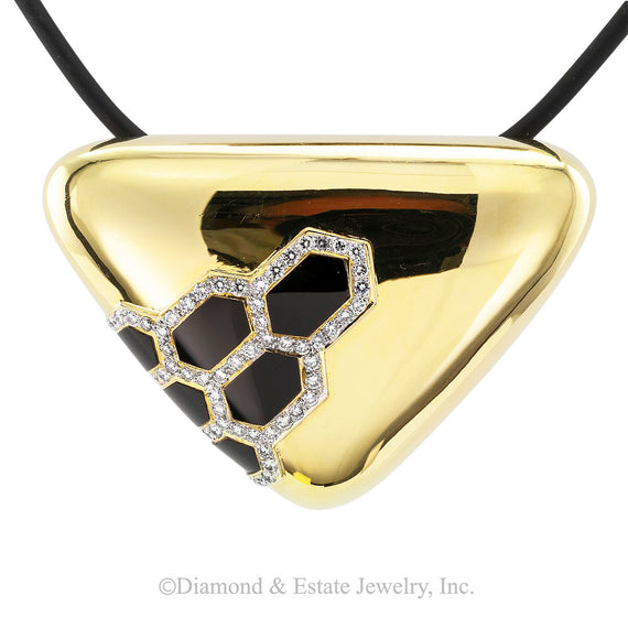 Black Onyx Diamond Gold Brooch Pendant - Jacob's Diamond and Estate Jewelry