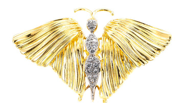 Spritzer & Fuhrman Diamond Yellow Gold Butterfly Brooch