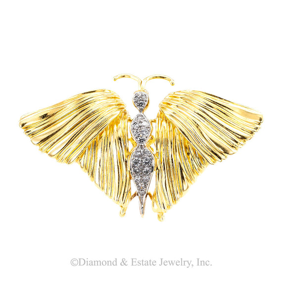 Spritzer & Fuhrman Diamond Yellow Gold Butterfly Brooch - Jacob's Diamond and Estate Jewelry