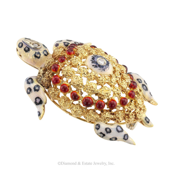 Enamel Diamond Gold Sea Turtle Brooch - Jacob's Diamond and Estate Jewelry