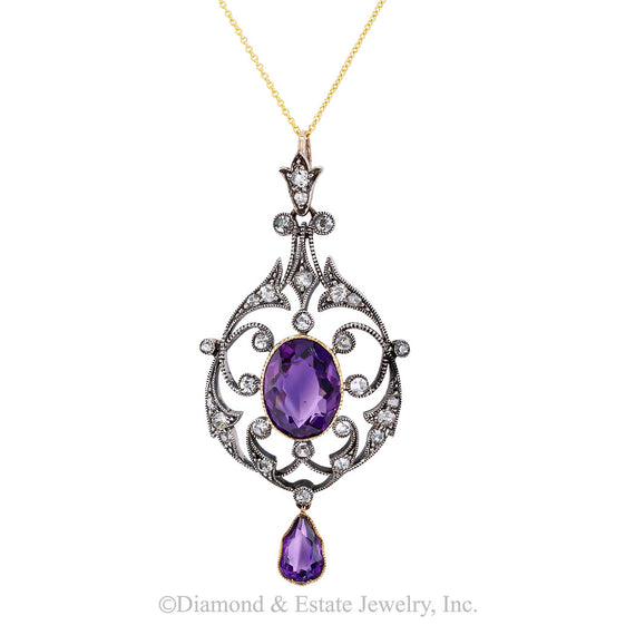 Victorian Amethyst Old Mine Cut Diamond Gold Silver Pendant - Jacob's Diamond and Estate Jewelry