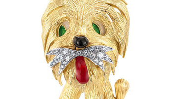 Shaggy Dog Diamond Enamel Yellow Gold Clip Brooch