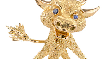 French Blue Sapphire Yellow Gold Whimsical Bull Brooch Clip