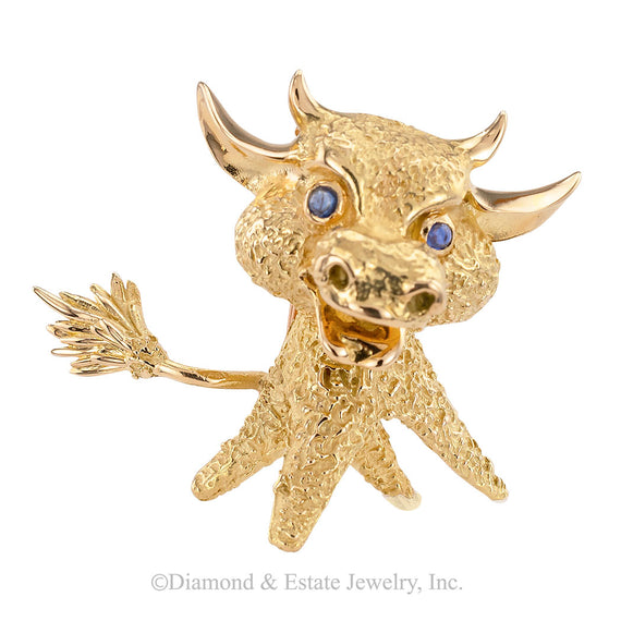 French Blue Sapphire Yellow Gold Whimsical Bull Brooch Clip - Jacob's Diamond and Estate Jewelry