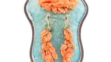 Victorian Carved Coral Brooch Drop Earring Set