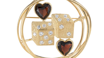 Ruser Garnet Diamond Yellow Gold Dice Brooch