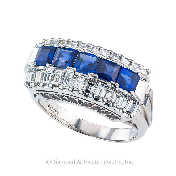 Estate blue sapphire baguette diamonds and platinum ring band circa 1980.