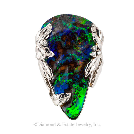 Bolder black opal diamond and platinum cocktail ring circa 1990.