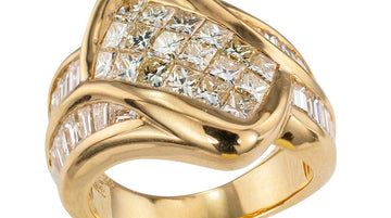 Invisibly Set Princess Cut Diamonds Baguette Diamonds Yellow Gold Ring Band