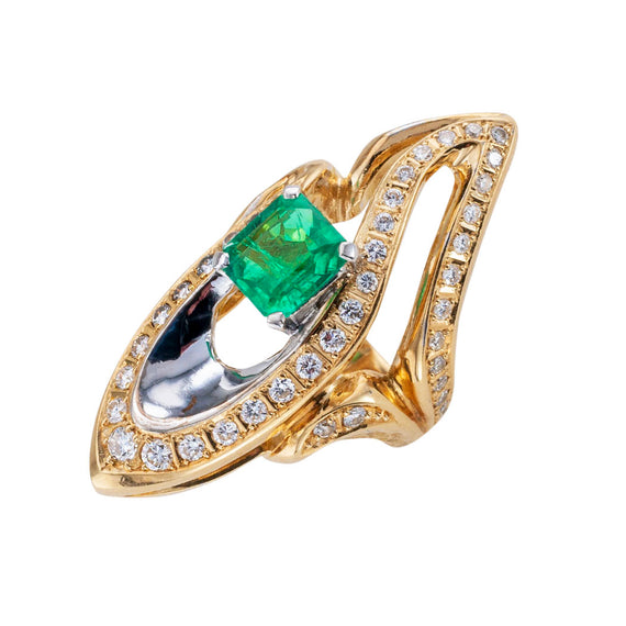 Estate Colombian emerald diamond and two-tone gold cocktail ring by Kunio.