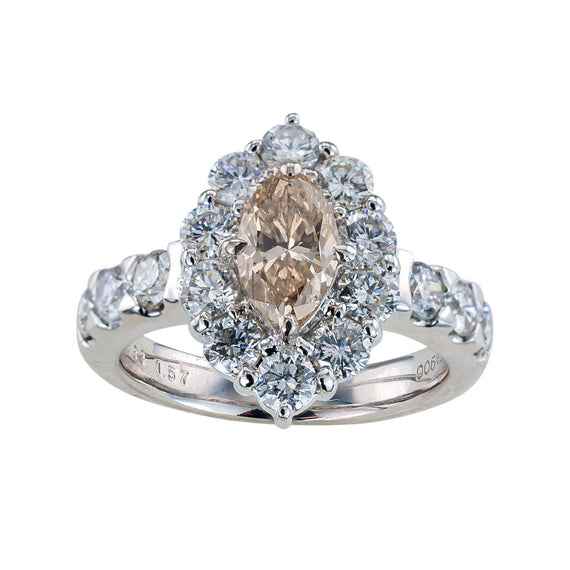 GIA report certified 0.88 carat light brown marquise diamond and platinum engagement ring circa 1990.