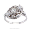 Modernist Style Three Stone Diamond White Gold Engagement Ring