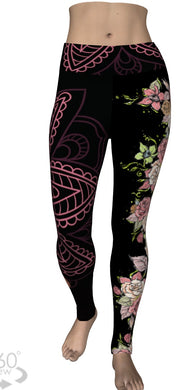 Coral Rose Mandala Leggings