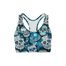 Blue Sugar Skulls Back Color Sports Bra