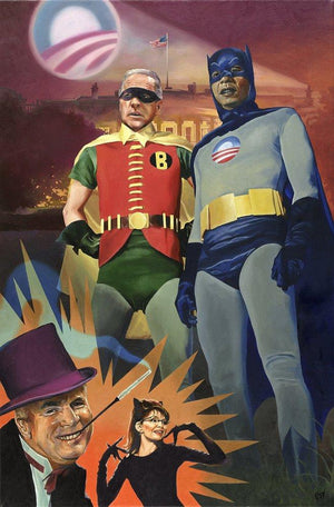 Batmobama and Robiden painting - Paul Richmond Studio