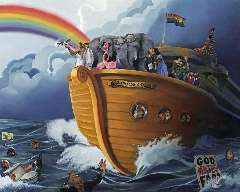 Noah's Gay Wedding Cruise painting - Paul Richmond Studio