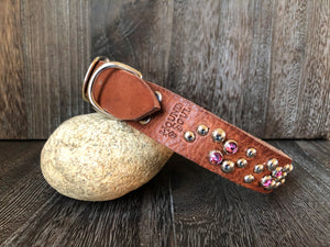 Leather Dog Collar Swirl - Nickle Finish - Tan Leather