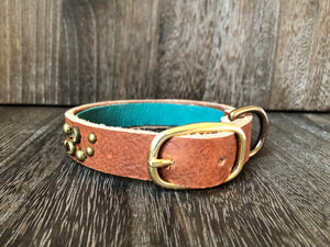Leather Dog Collar Swirl - Antique Brass Finish - Tan Leather