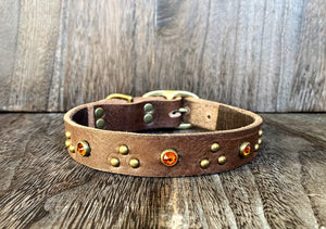 Leather Dog Collar - Triangle and Gems - Antique Brass and Amber Crystal