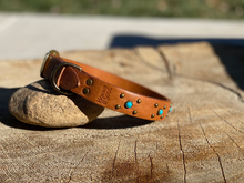 Handmade Leather Collar- light tan with turquoise accents