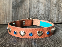LOVE Leather Collar - Hearts and Gems - Tan