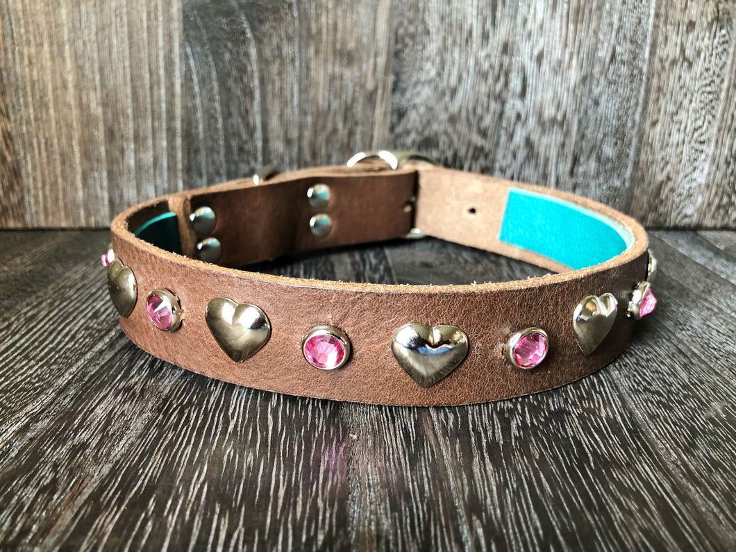 LOVE Leather Collar - Hearts and Gems