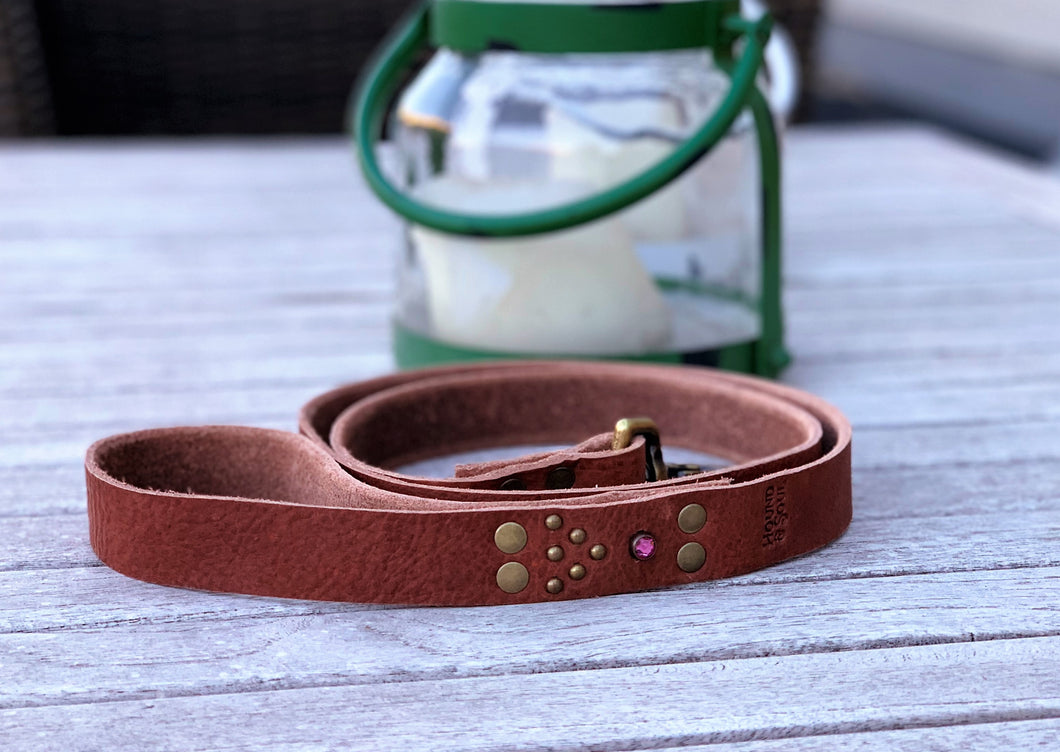 Leather Handmade Leash with Antique Brass and Crystal Embellishment