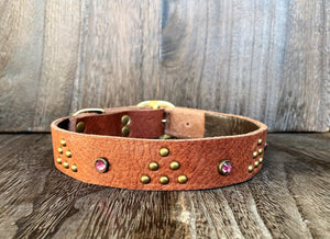 Leather Dog Collar - Triangle and Gems - Antique Brass and Pink Crystal