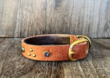 Leather Dog Collar - Triangle and Gems - Antique Brass and Purple Crystal