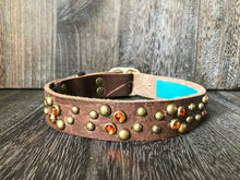 Leather Dog Collar Swirl - Antique Brass - Chocolate Leather