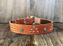 Leather Dog Collar - Triangle and Gems - Nickel and Teal Crystal