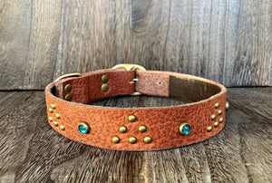 Leather Dog Collar - Triangle and Gems - Antique Brass and Teal Crystal