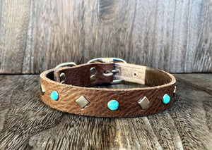 Leather Dog Collar - Turquoise and Nickel
