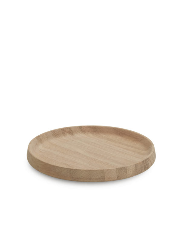 Round Serving Tray in Oak, Size Large