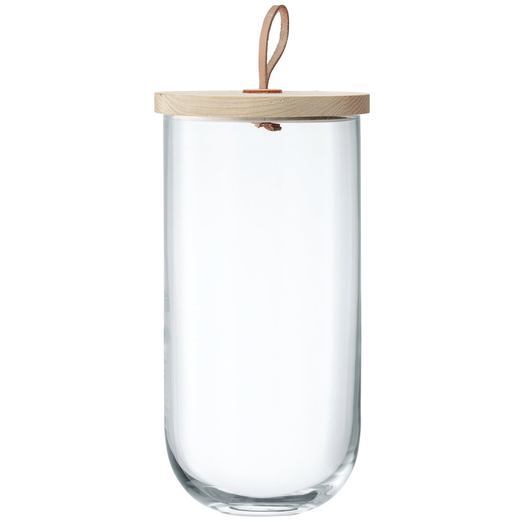 Glass Container with Ash/Leather Lid, Large