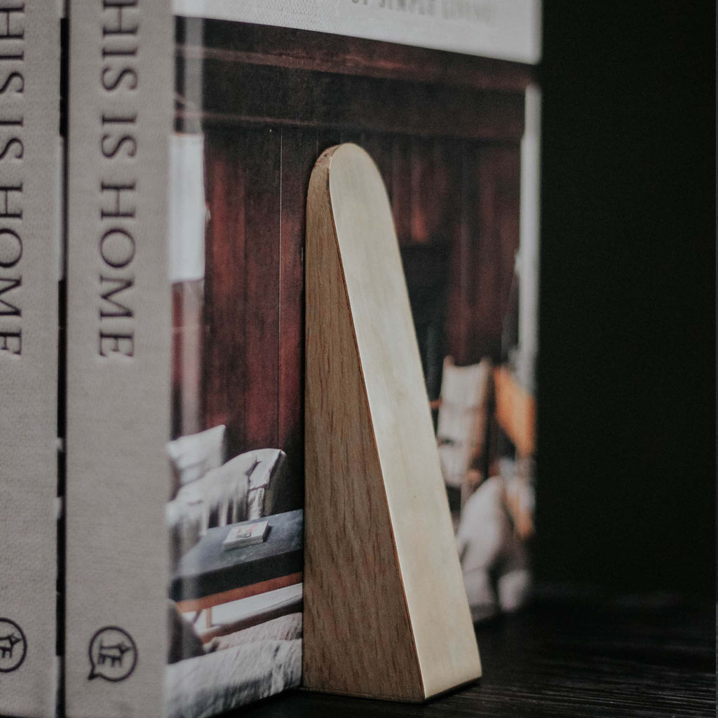 Oak Bookend with Brass