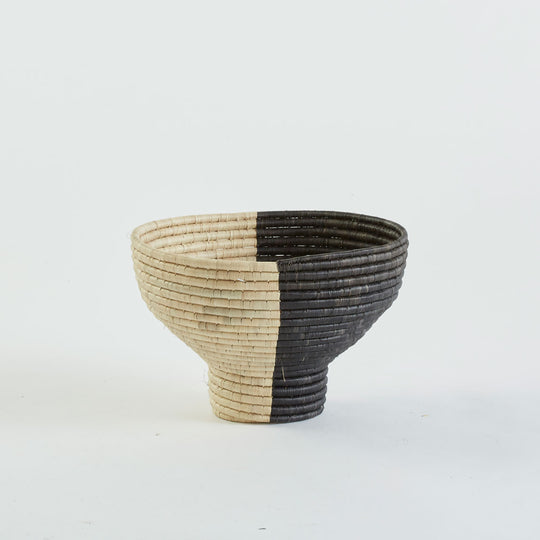Pedestal Basket in Black and Natural, Small