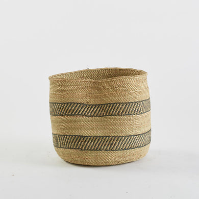 Woven Basket in Natural and Black Stripe, Large