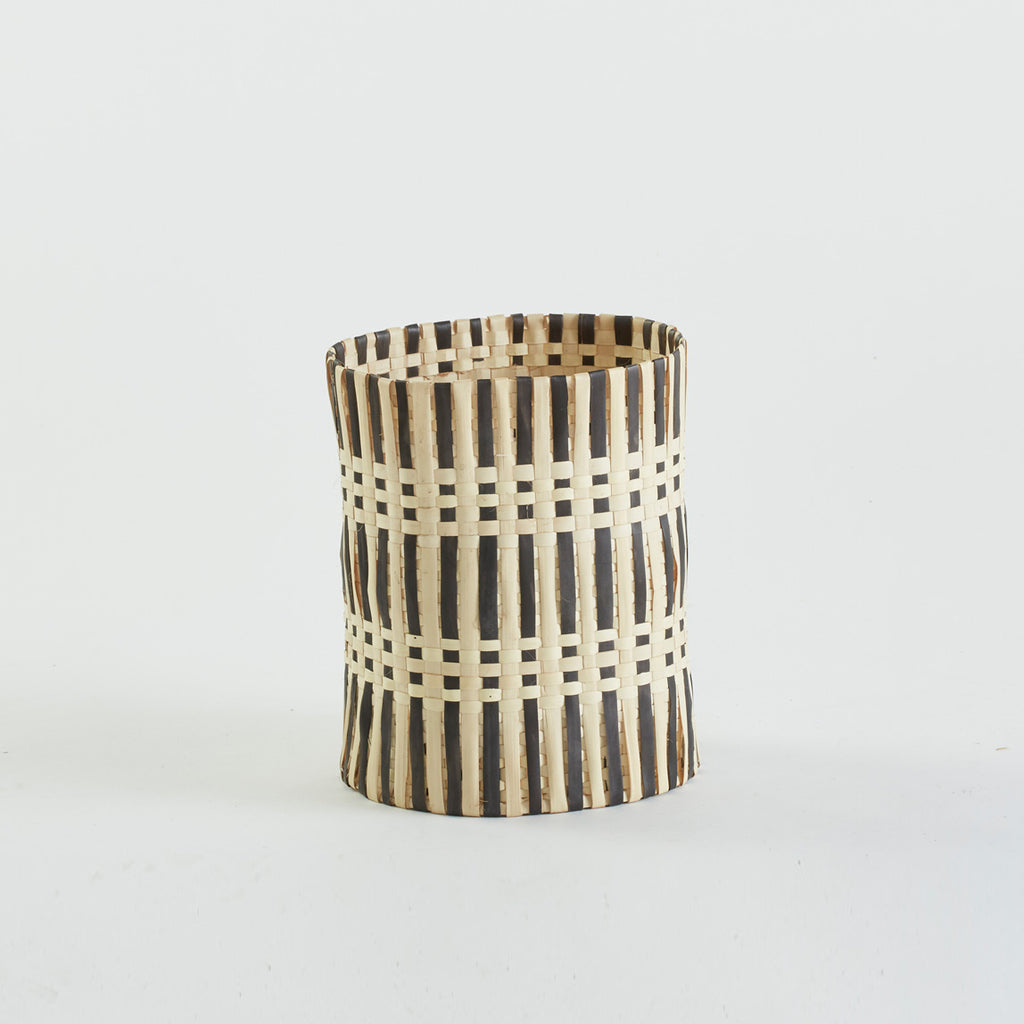 Wastepaper Basket in Natural and Black