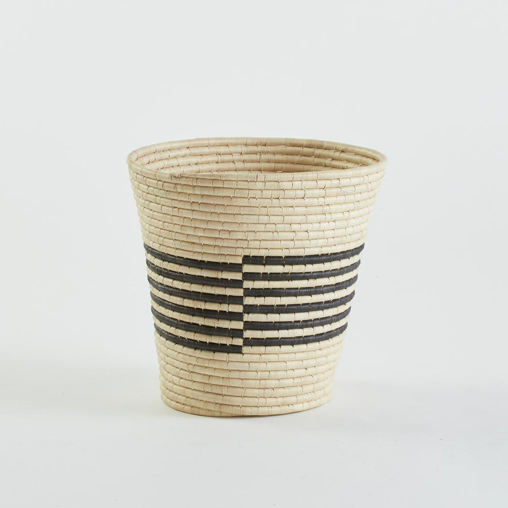 Zora Basket, Natural with Black Stripes