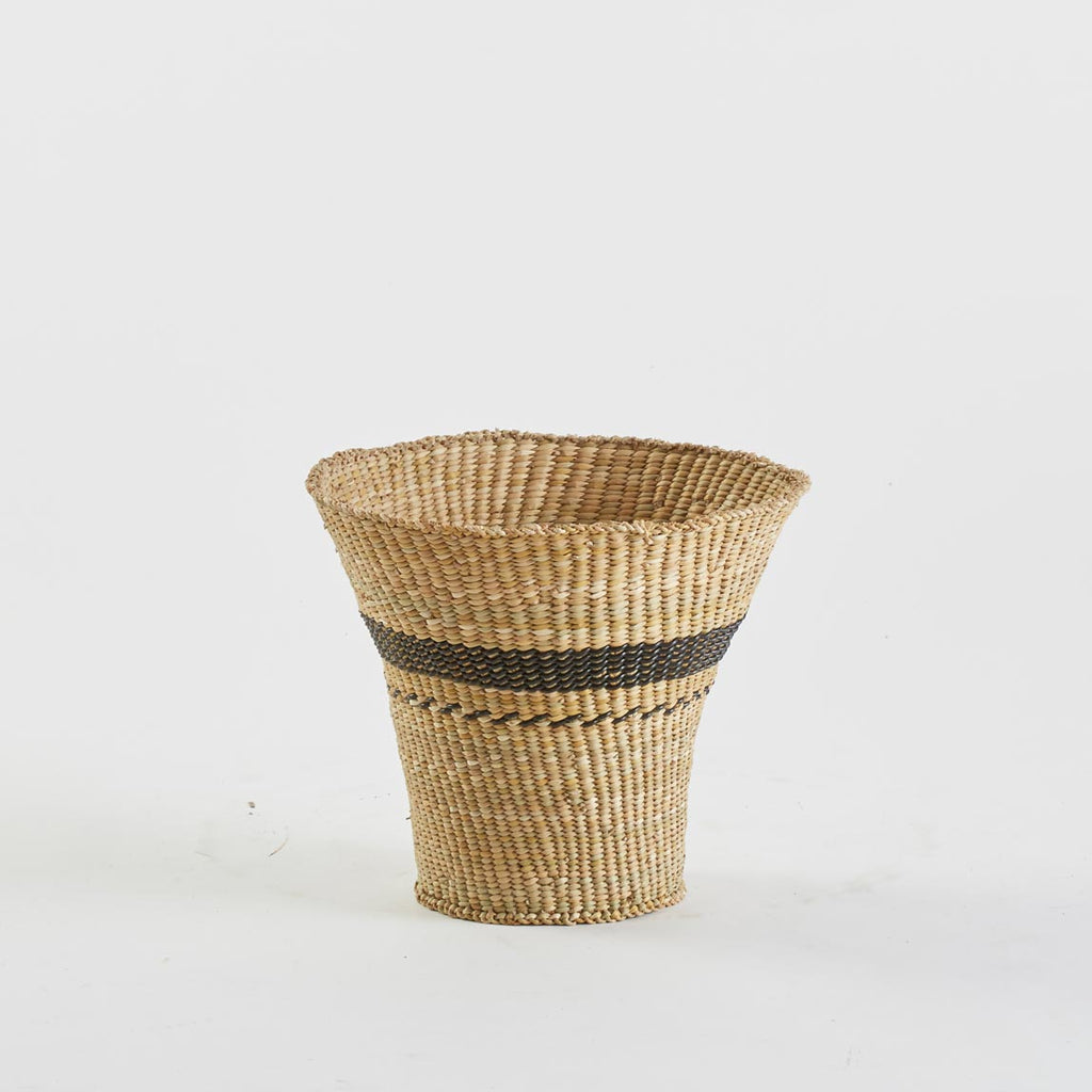 Woven Basket in Natural and Black Stripe, Medium