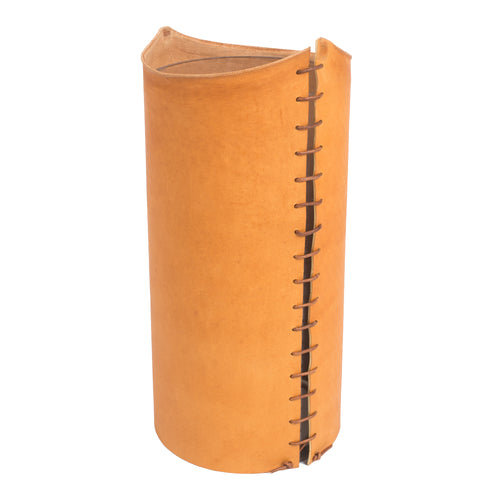 Large Raw Edge Leather Vase