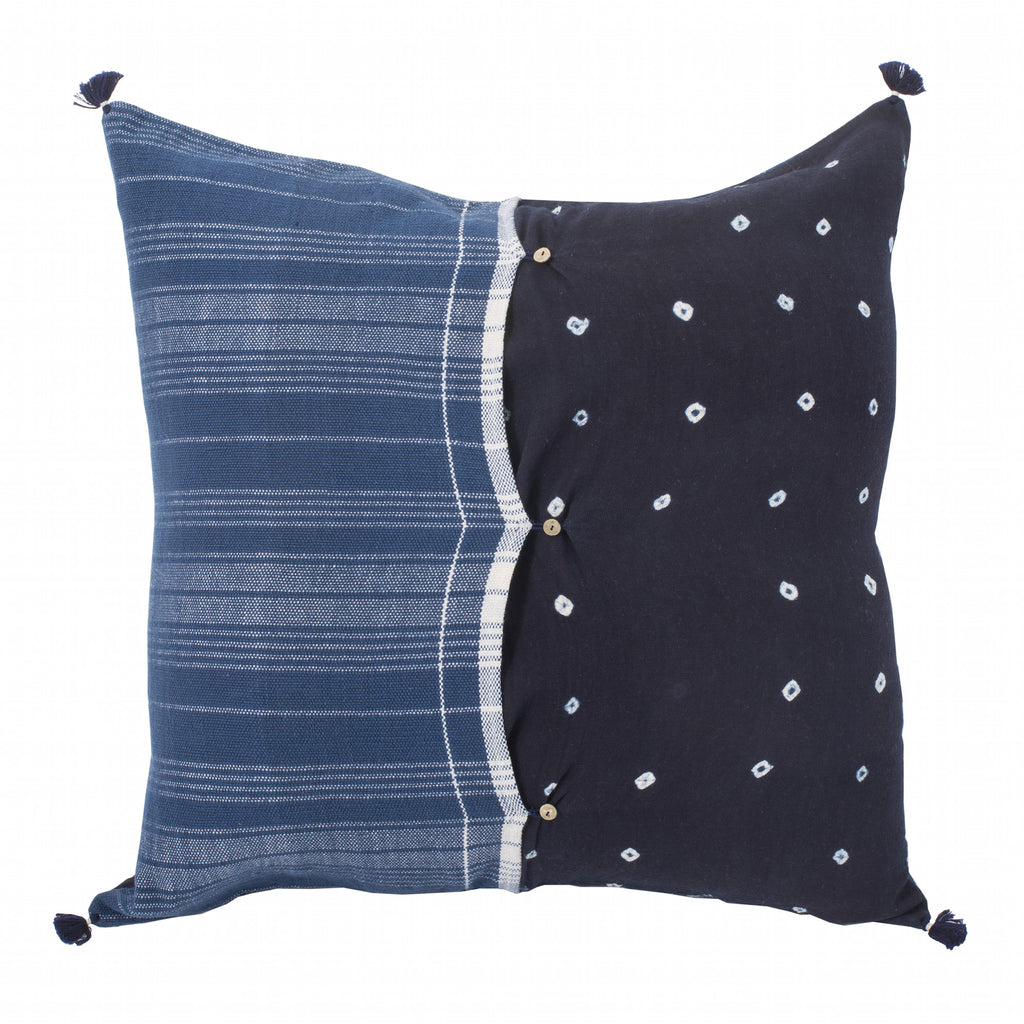 Large Square Blue Indian Pillow Sham