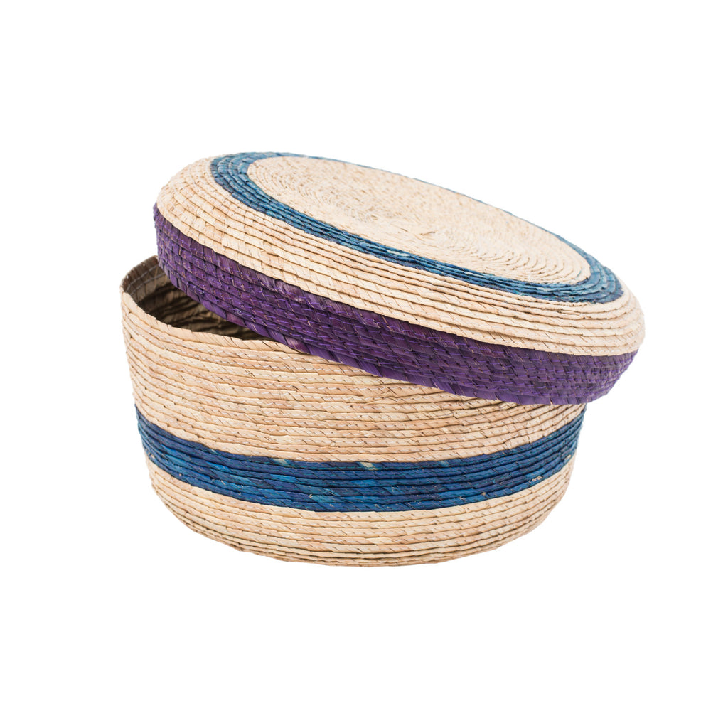 Indigo and Purple Stripe Basket